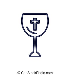 katholiek, wijn glas, stijl, pictogram, lijn