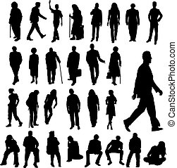 kavels, silhouettes, mensen