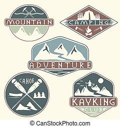 kayaking, avontuur klimmen, ouderwetse , kamperen, set, etiketten