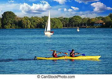 kayaking, meer