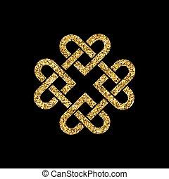 keltisch, schitteren, goud, knoop