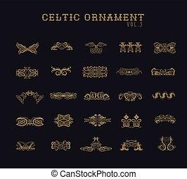 keltisch, set, ornament, verzameling