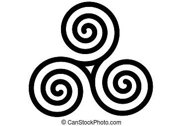 keltisch, triskele, spiraal, drievoudig, of