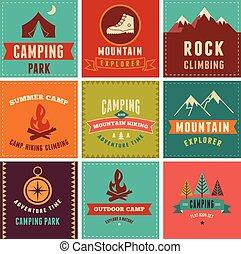 kentekens, achtergronden, wandelende, iconen, kamp, communie
