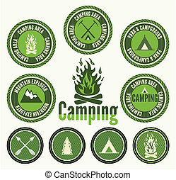 kentekens, set, kamperen, retro