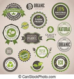 kentekens, set, organisch, etiketten
