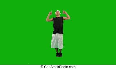 kerel, groene, scherm, heup-hop, dancing