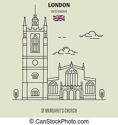 kerk, uk., londen, oriëntatiepunt, pictogram, st, margaret's