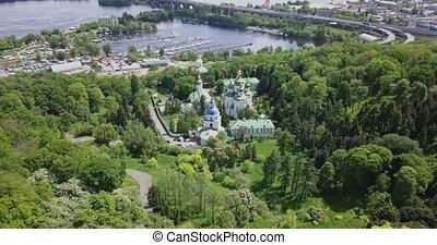 kerken, rivier, aanzicht, luchtopnames, tuin, flora