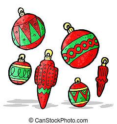 kerst baubles, spotprent