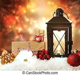 kerstballen, kadootjes, lantaarntje