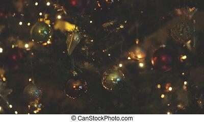 kerstboom, guirlande, verfraaide, home.