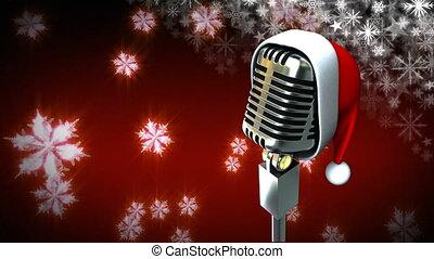 kerstman, snowflakes, microfoon, hoedje