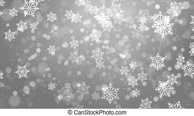kerstmis, achtergrond, winter, het vallen, partikels, geanimeerd, wite sneeuw, beautifully
