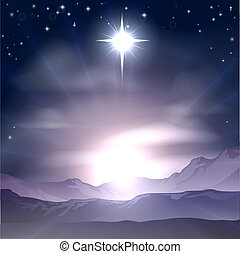 kerstmis, bethlehem, nativit, ster