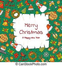 kerstmis, communie, oud, gekleurde, tekst, xmas geschenken, boompje, vector, plek, papier, achtergrond, kerstman, getrokken, hand, perkament