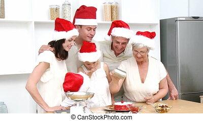 kerstmis, het glimlachen, bakken, gezin, cakes