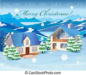 kerstmis, landscape, landelijk
