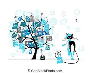 kerstmis, mode, shoppen , boompje, verkoop, kat, zak, ontwerp, jouw
