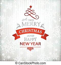 kerstmis, rood, typografie, achtergrond, zilver