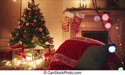 kerstmis, verfraaide, kamer, nacht