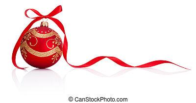 kerstmis, vrijstaand, boog, versiering, lint, achtergrond, witte , bauble, rood