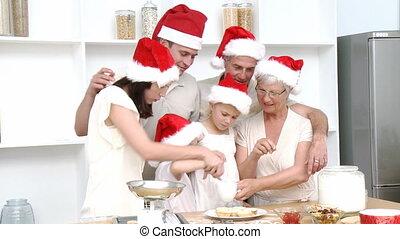 kerstmis, vrolijke , bakken, gezin, cakes