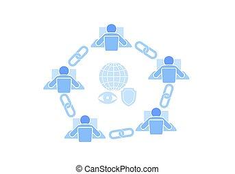 ketting, punt, meldingsbord, technologie, design., blauwe , stijl, draad, netwerk, concept., blockchain, internet, plat, handel illustratie, schakel, pictogram, hyperlink, verbinding, vector, samenhangend, veiligheid, futuristisch