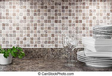 keukenkruiden, dishware, groen keuken, countertop