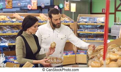 kies, terwijl, bakkerij, fris, gezin, brood, supermarkt, department.