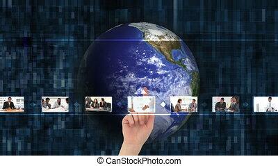kies, video's, hand, zakelijk