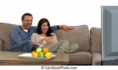kijkende televisie, paar