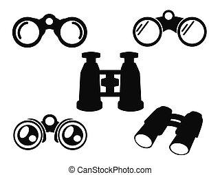 kijker, set, symbool, pictogram