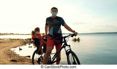 kind, man, maskers, beschermend, fiets
