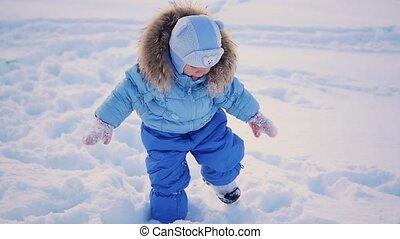 kind, park, sneeuw, afwijkingen, diep, wandelingen