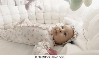 kinderbed, haar, pasgeboren baby, meisje, schattige