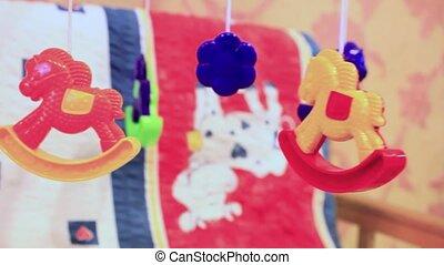 kinderbed, hangend, toys., baby