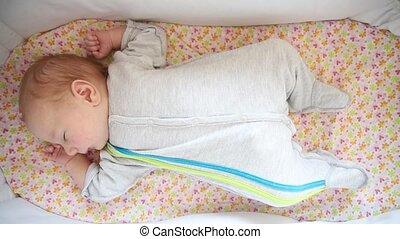 kinderbed, kalm, pasgeboren baby, slapende