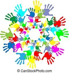 kinderen, afdrukken, kleurrijke, hand