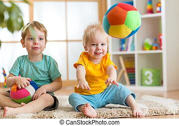 kinderen, bal, zacht, spelend, speelkamer