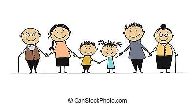 kinderen, gelukkige familie, groot