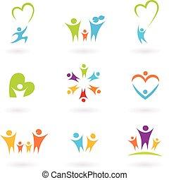 kinderen, gezin, gemeenschap, pictogram