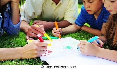 kinderen, ouders, hun, tekening, vrolijke