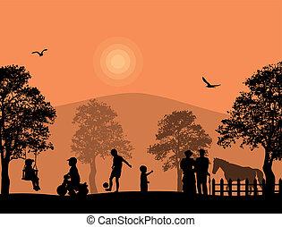 kinderen, park, spelend
