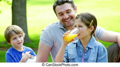 kinderen, relaxen, park, vader