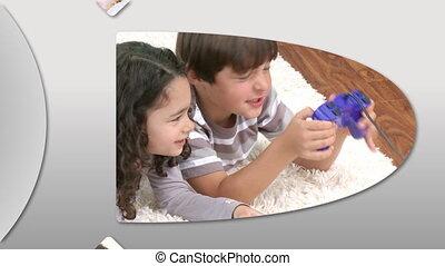 kinderen, schattige, het tonen, animatie