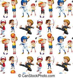 kinderen, seamless, sporten