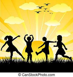 kinderen, silhouettes, getrokken, hand, glanzend, spelend, dag