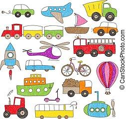 kinderen, stijl, speelbal, tekening, voertuigen