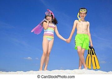 kinderen, strand